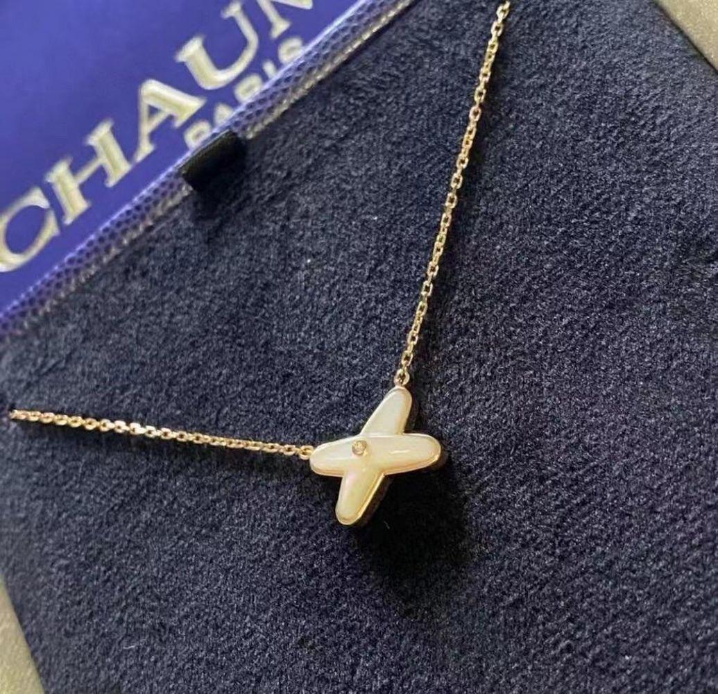 尚美chaumet项链白贝母钻石lines缘系一生x 18k玫瑰金十字交叉