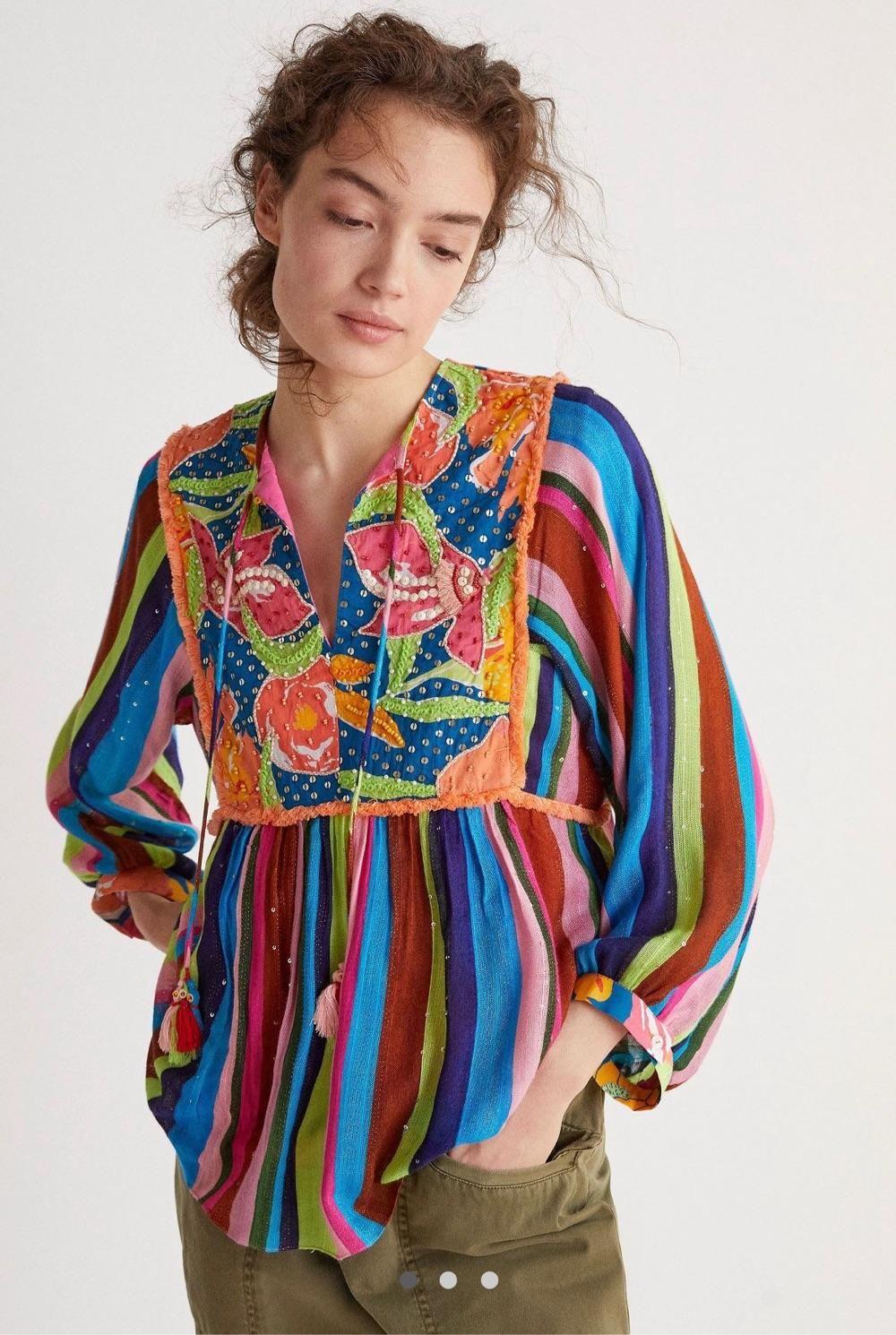 farm iro彩色亮丽条纹刺绣串珠上衣