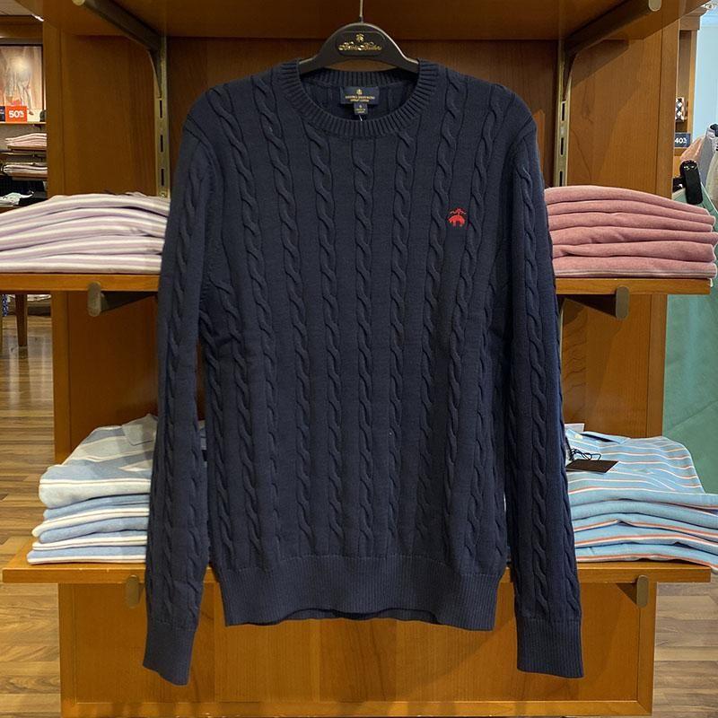 Brooks Brothers/布克兄弟男士圆领麻花毛衣秋冬款套头针织衫