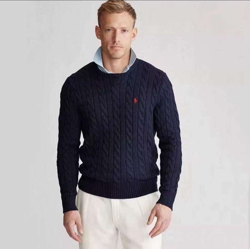 Ralph Lauren拉夫劳伦男士秋冬款圆领麻花纯色长袖针织衫毛衣